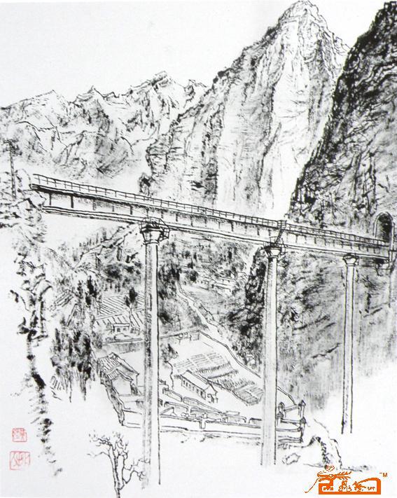 铁路透视图手绘